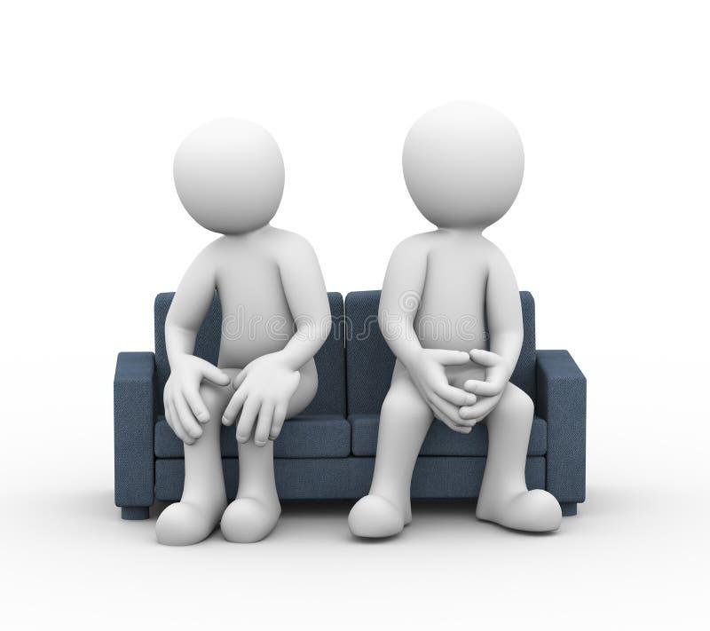 3d家庭冲突夫妇坐长沙发 库存例证