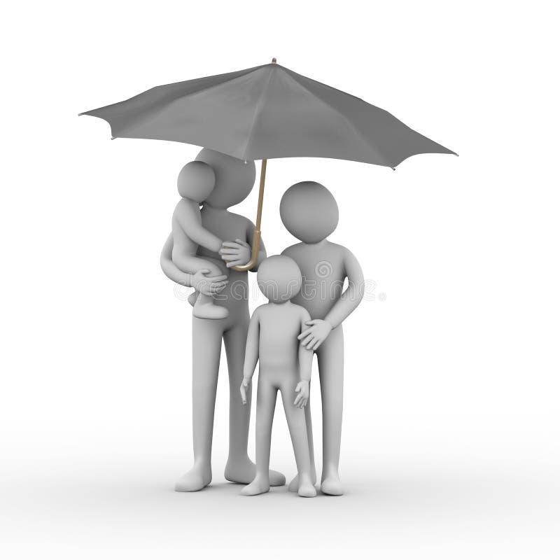 3d家庭在黑伞下 库存例证