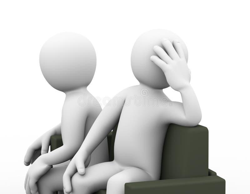 3d家庭纠纷夫妇坐长沙发 库存例证
