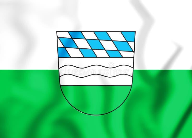 3D富尔特伊姆瓦尔德巴伐利亚,德国的旗子 皇族释放例证