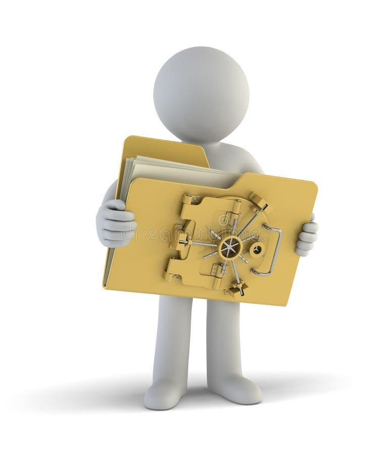 3d小人民-我的文件是安全的 库存例证