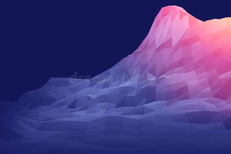 3D山未来派低多几何翻译  皇族释放例证