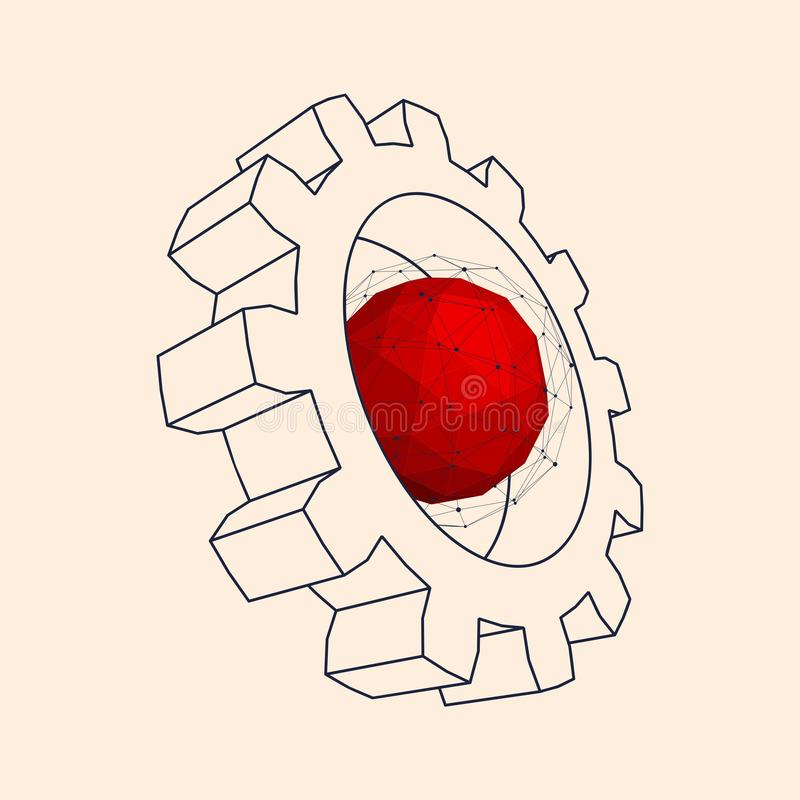 3d嵌齿轮轮子 库存例证