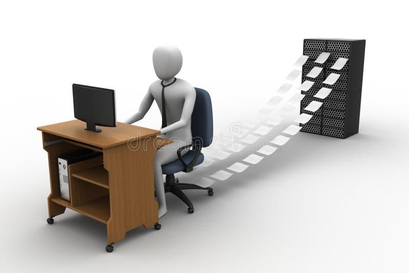 3d工作在办公室的干事 向量例证