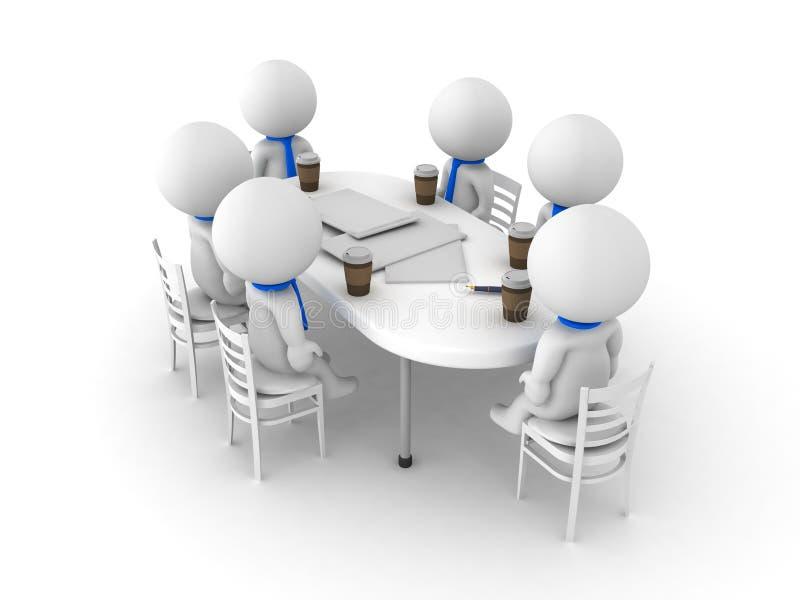 3D工作在桌上的小组的例证 向量例证