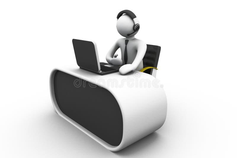 3D工作在电话中心的人 皇族释放例证