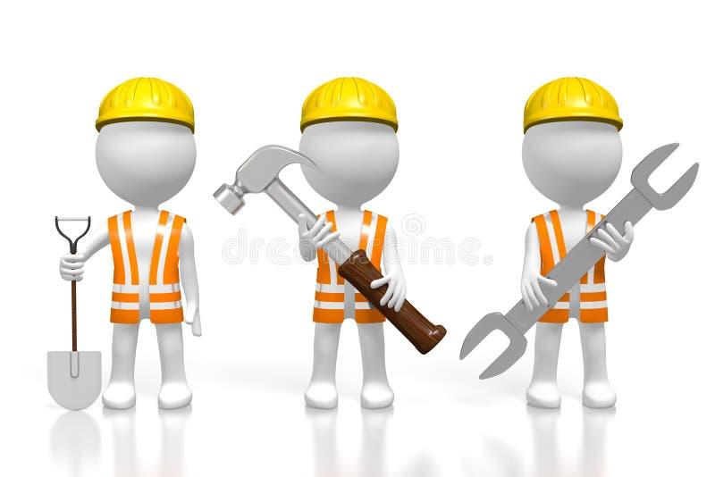 3D工作者夹具-锤子,铁锹,板钳 皇族释放例证
