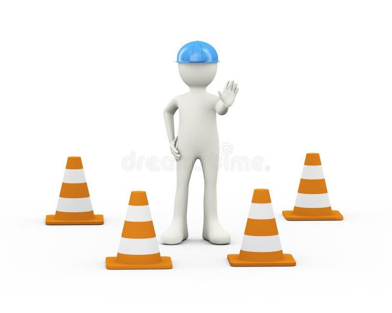 3d工作者止步不前中止姿势和交通锥体 皇族释放例证