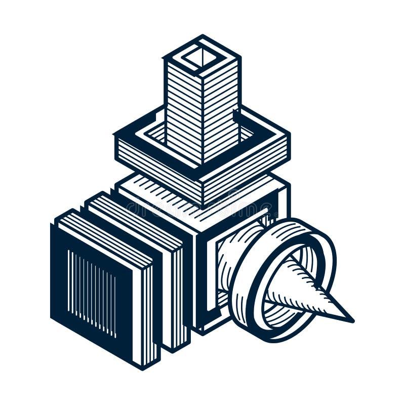 3D工程学传染媒介、使用立方体被做的抽象形状和geome 皇族释放例证