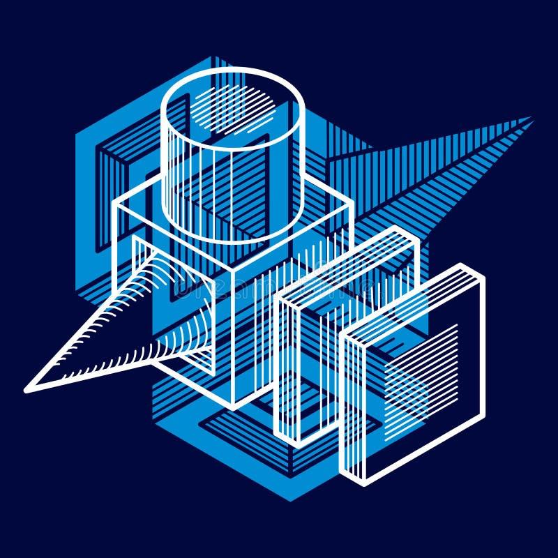 3D工程学传染媒介,使用立方体被做的抽象形状 向量例证