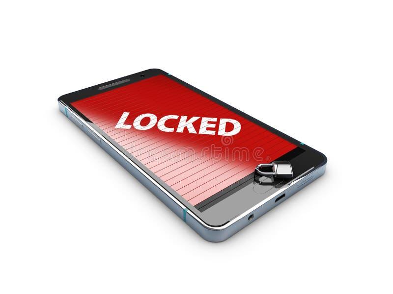 3d巧妙的电话的例证有锁的,抽象背景 向量例证