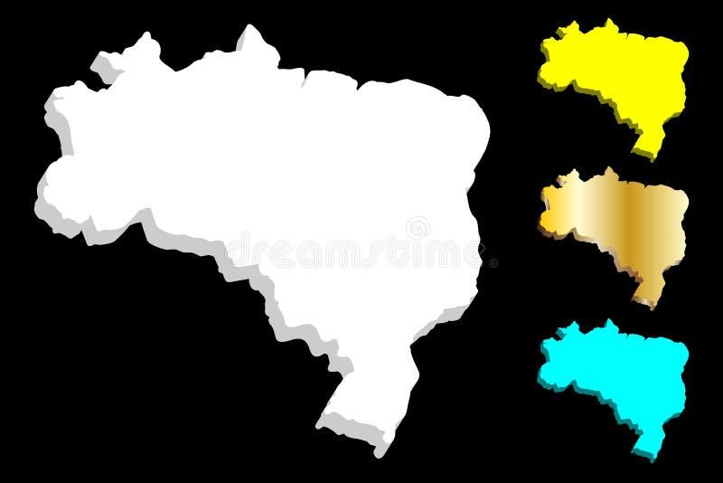 3D巴西的地图 库存例证