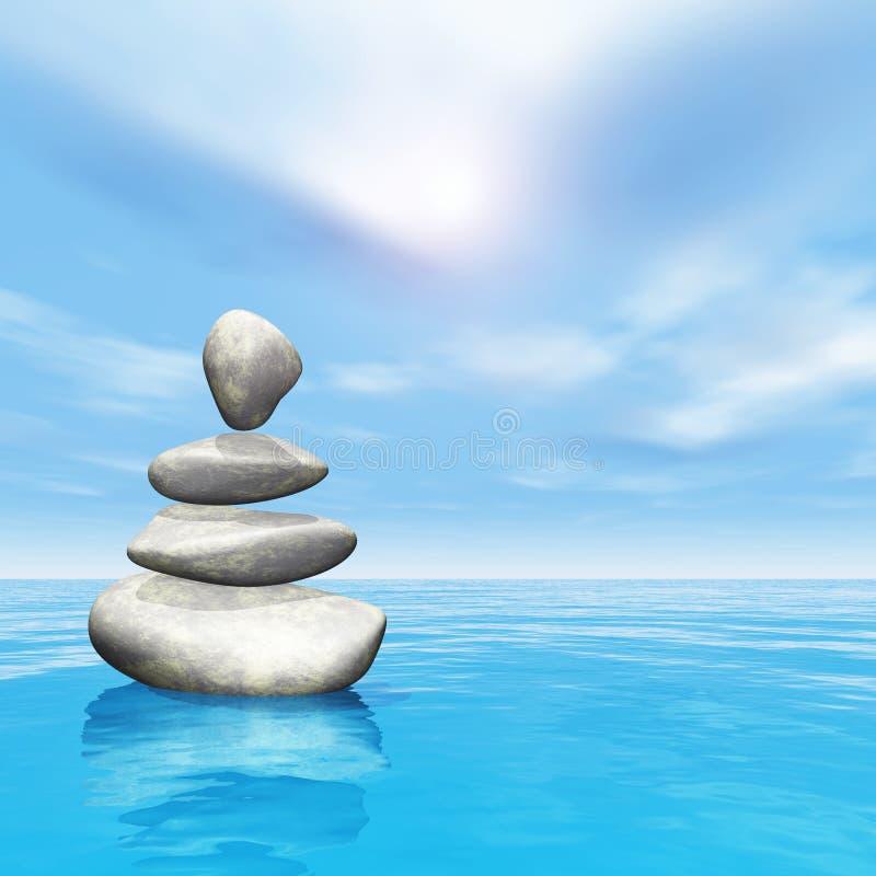 3D平衡的小卵石在海洋 库存例证