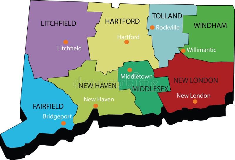 3d康涅狄格状态地图  库存照片