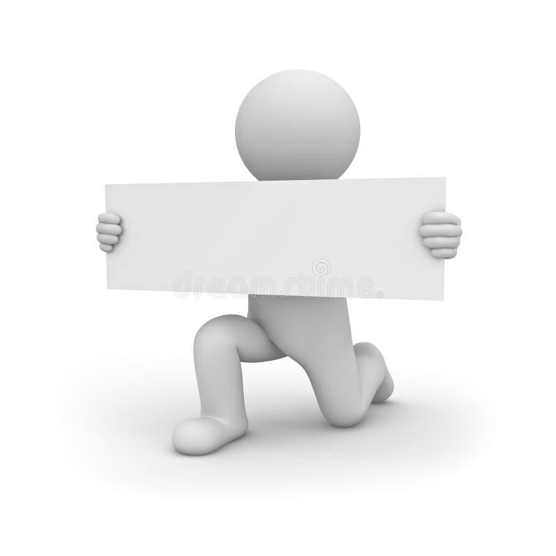 3d开始认真对待一个膝盖和显示长的空白的标志板的人被隔绝在白色 皇族释放例证