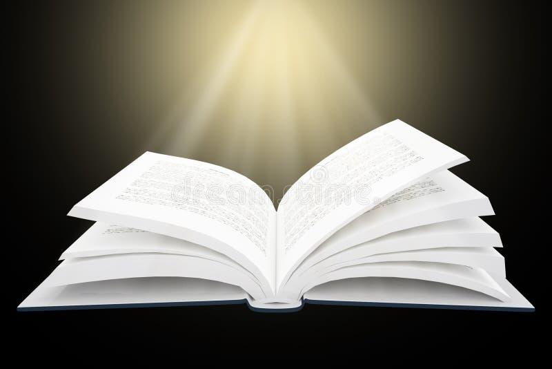3D开放书翻译与明亮的光的 皇族释放例证