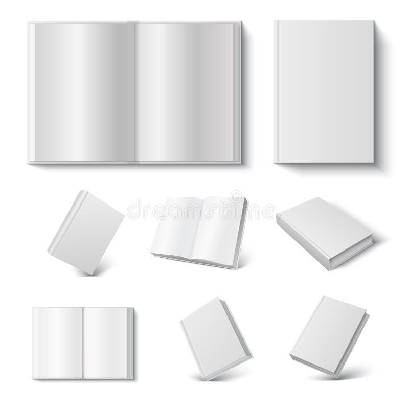 现实书 3d开放和闭合的日志的嘲笑与在白色背景的空白的坚硬盖子 r 向量例证