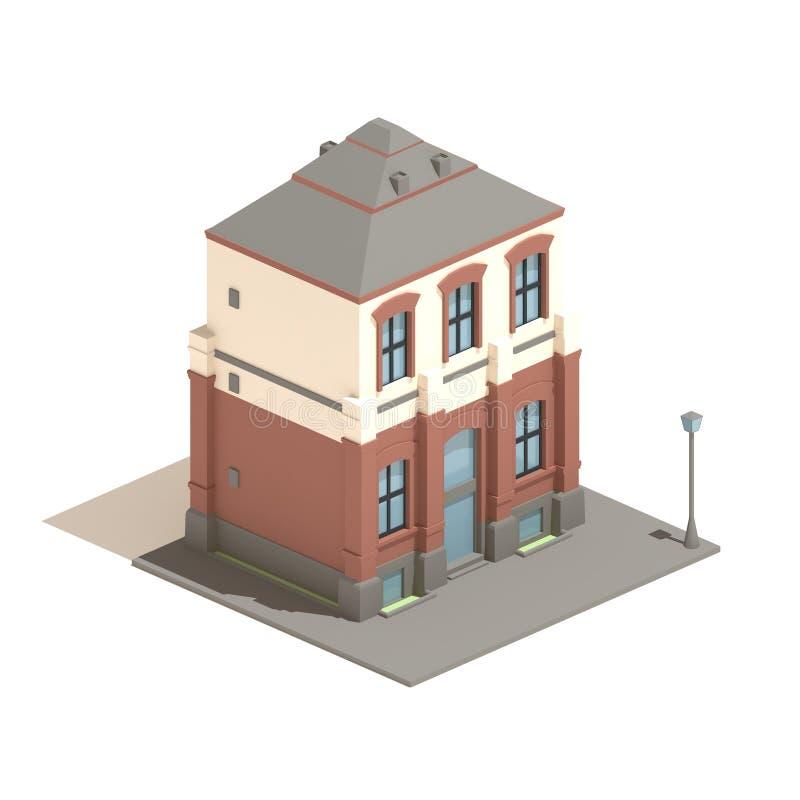 3d式样等量在白色背景隔绝的公寓英国房子 向量例证