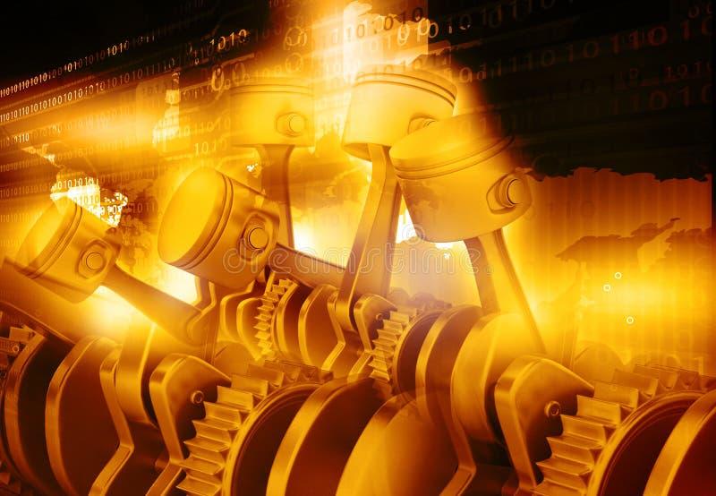 3d引擎活塞和嵌齿轮轮子 向量例证
