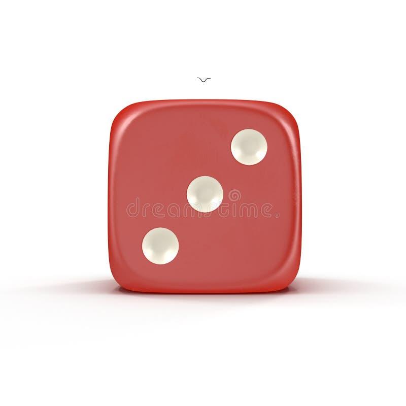 3d彀子例证查出的红色回报了白色 3d例证 向量例证