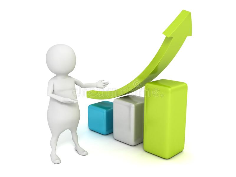 3d当前企业与箭头的人成长曲线图图表 库存例证