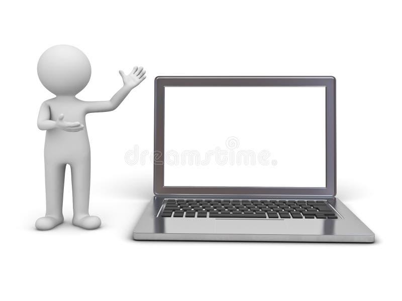 3d当前空白的膝上型计算机显示器的人 库存例证
