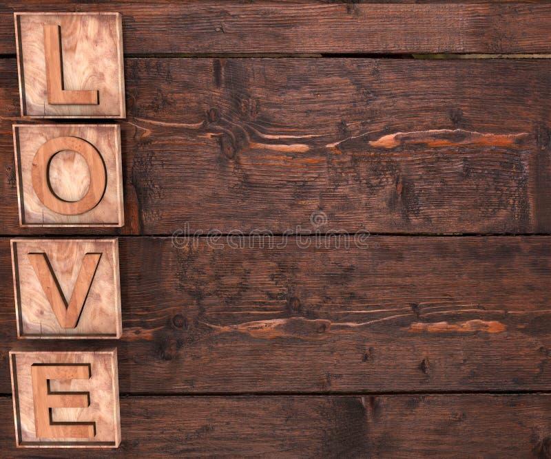 3D形成词爱的木信件写在木背景 St Valentine';s天 库存图片