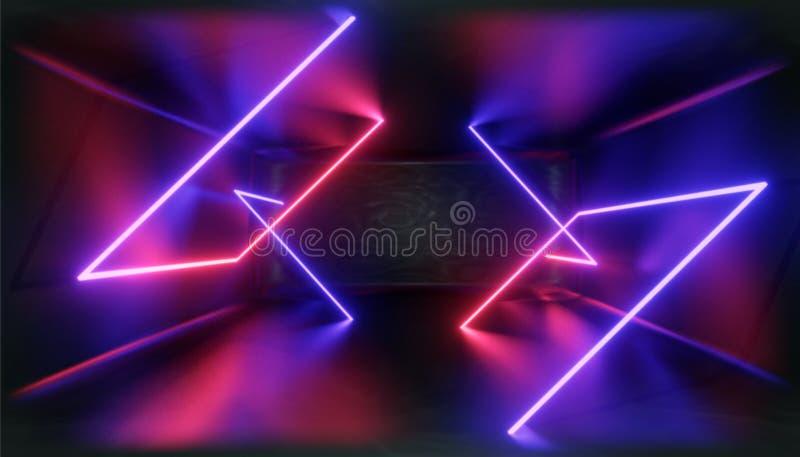 3d形象化 在霓虹灯的几何图反对一个黑暗的隧道 激光焕发 皇族释放例证