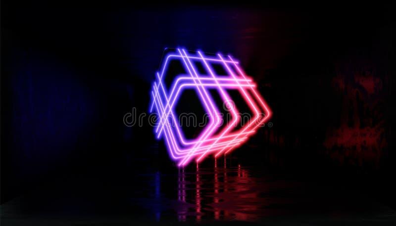 3d形象化 在霓虹灯的几何图反对一个黑暗的隧道 激光焕发 库存例证