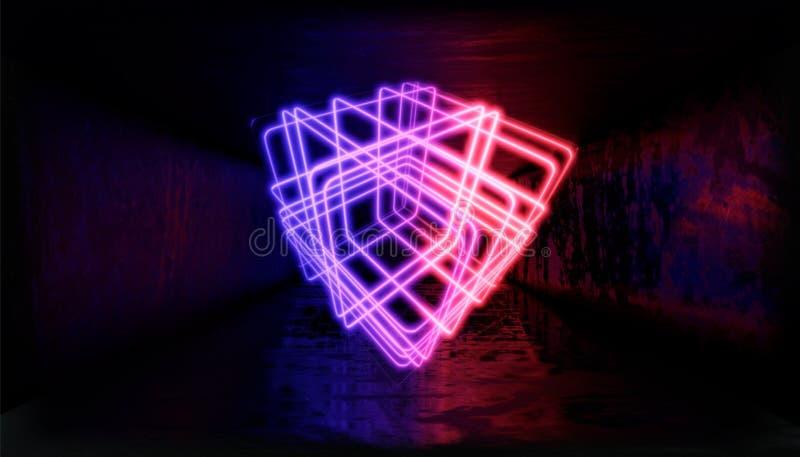 3d形象化 在霓虹灯的几何图反对一个黑暗的隧道 激光焕发 向量例证