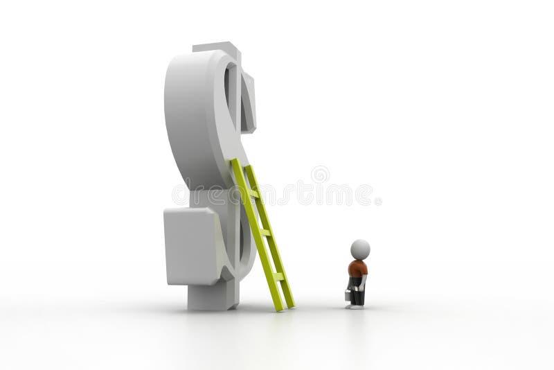 3d往财政标志的人上升的梯子 向量例证