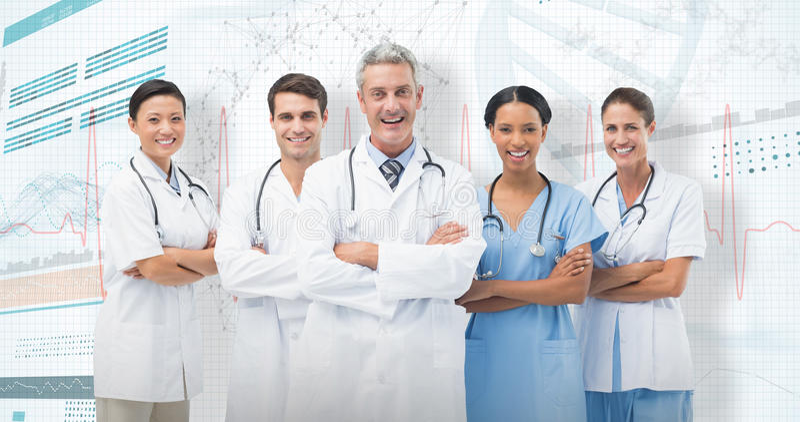 3D微笑的医疗队常设胳膊画象的综合图象横渡的  库存图片