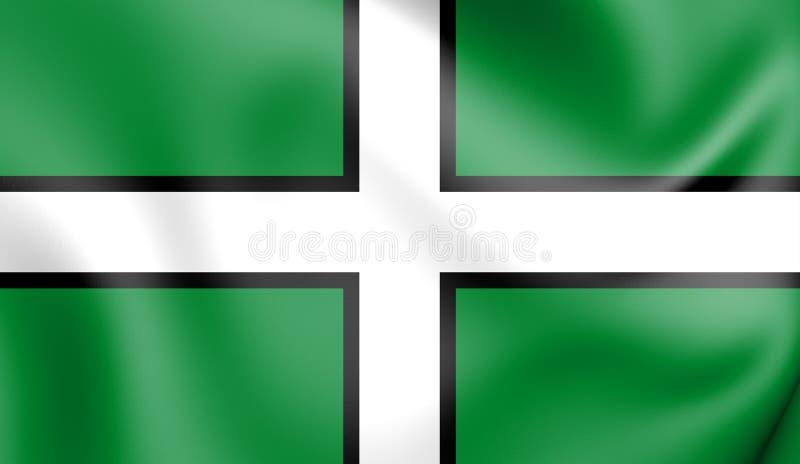 3D德文郡,英国的旗子 向量例证