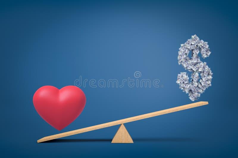 3d心脏反对金钱美元标志的爱标志翻译在蓝色背景的跷跷板 库存照片