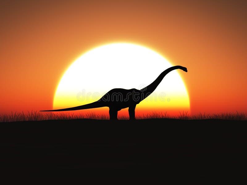3D恐龙身分的翻译反对大太阳的在日落 向量例证