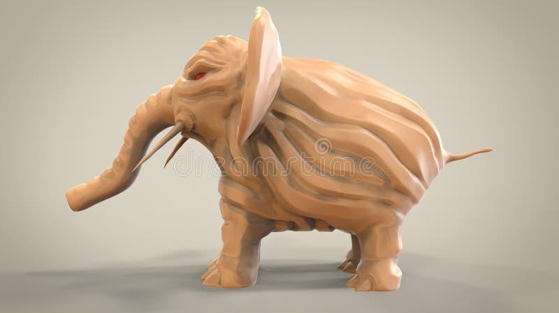 3d恼怒的动画片大象的例证 向量例证