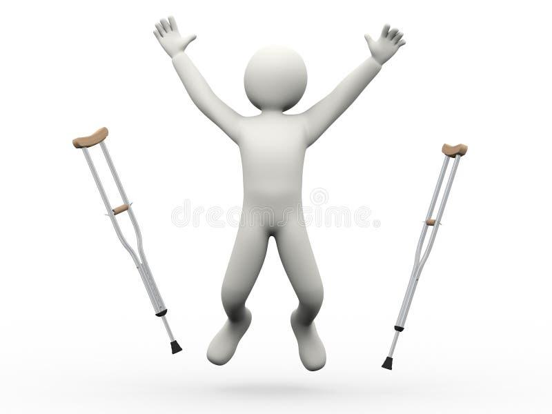 3d愉快的人跳跃的投掷的拐杖 皇族释放例证