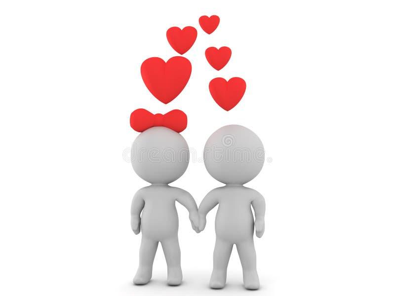 3D愉快的夫妇的例证在握手的爱的 向量例证