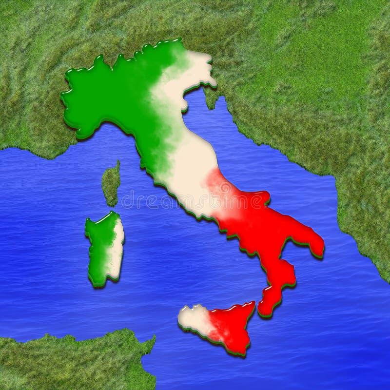 3D意大利的地图在意大利旗子的颜色绘了 风格化果冻饼的例证 库存例证