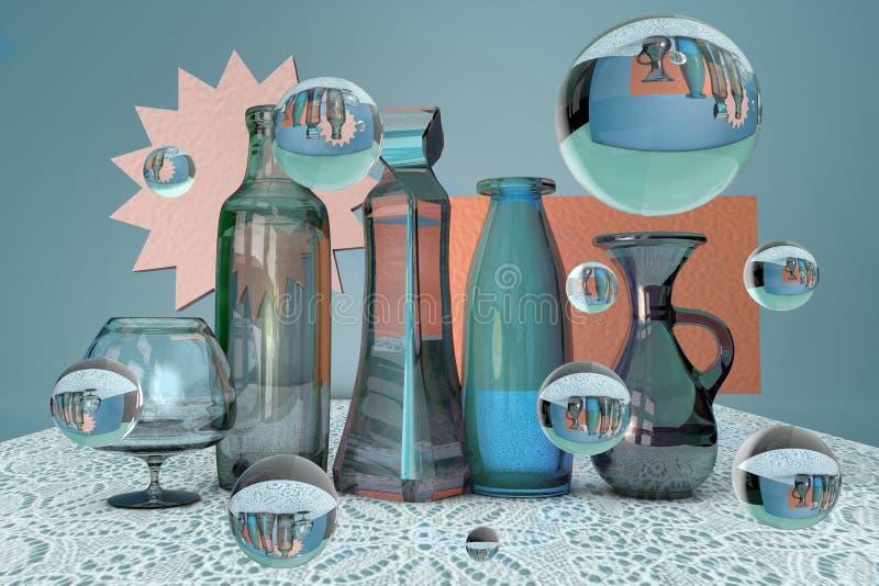 3d意想不到的未来派玻璃静物画翻译与瓶、瓶子、花瓶、酒杯和泡影的在鞋带桌布 皇族释放例证