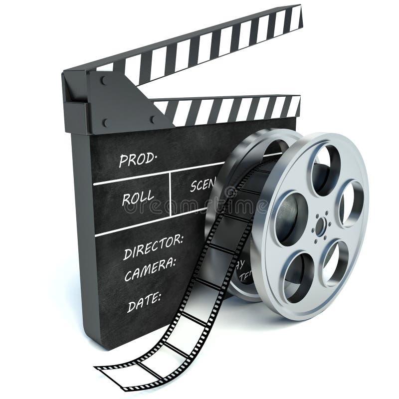 3d戏院拍手和影片轴的例证,在白色 皇族释放例证