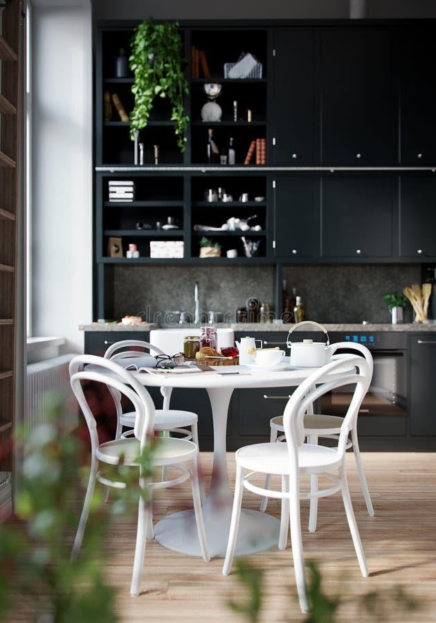 3D户内翻译房子人膳食在桌上没有为服务的厨房室 向量例证