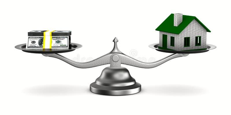 3d房子图象查出货币缩放比例 向量例证
