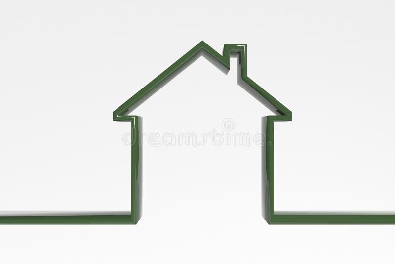 3D房子概述 绿色高效率的房子象 房子的标志 向量例证