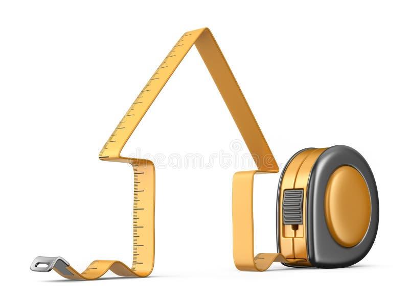 3d房子评定的磁带 建筑室内漆滚筒工具墙壁 图标 库存例证
