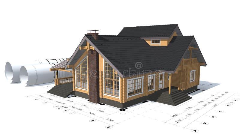 3D房子项目的翻译 皇族释放例证