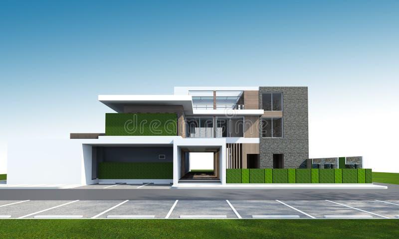 3D房子翻译有裁减路线的 库存照片