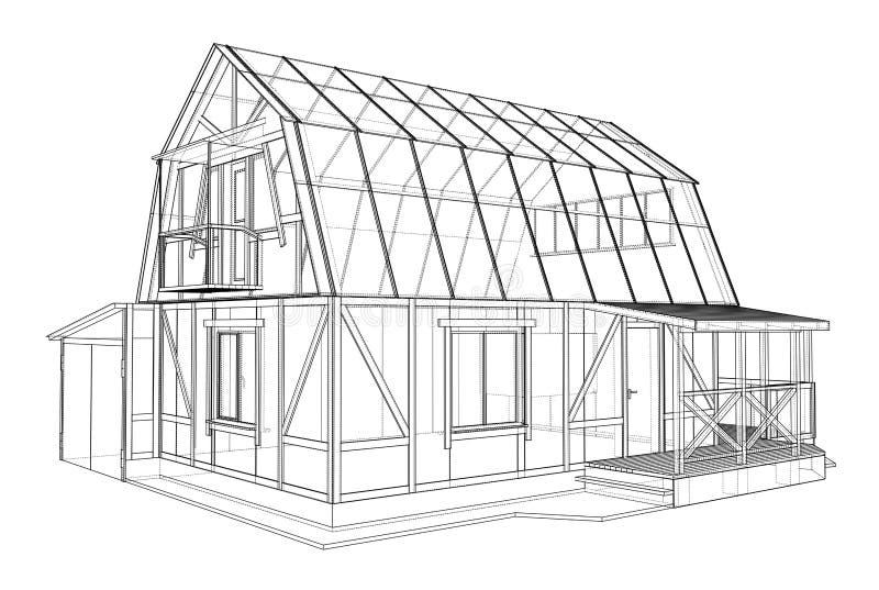 3D房子wireframe结构翻译  皇族释放例证