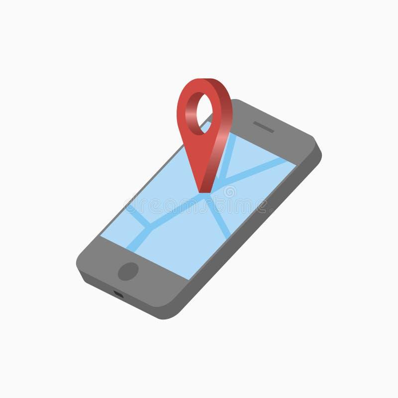 3D手机和地点尖 有地图和别针的等量智能手机 GPS航海概念 向量 库存例证