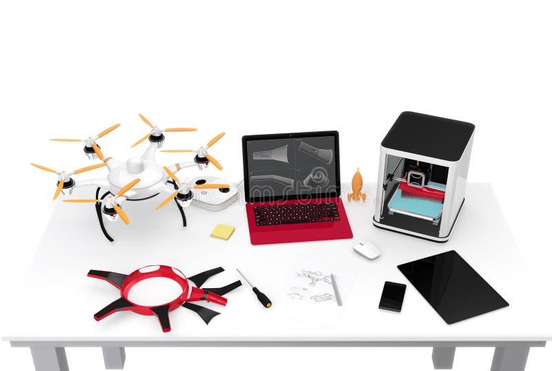 3D打印机、膝上型计算机、片剂个人计算机和寄生虫在桌上 库存例证